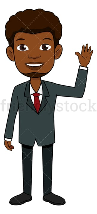 Black businessman smiling and waving. PNG - JPG and vector EPS file formats (infinitely scalable). Image isolated on transparent background.