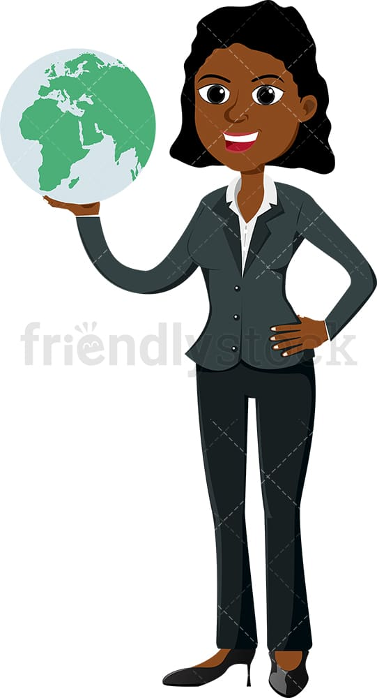Black businesswoman holding the world in her palm. PNG - JPG and vector EPS file formats (infinitely scalable). Image isolated on transparent background.