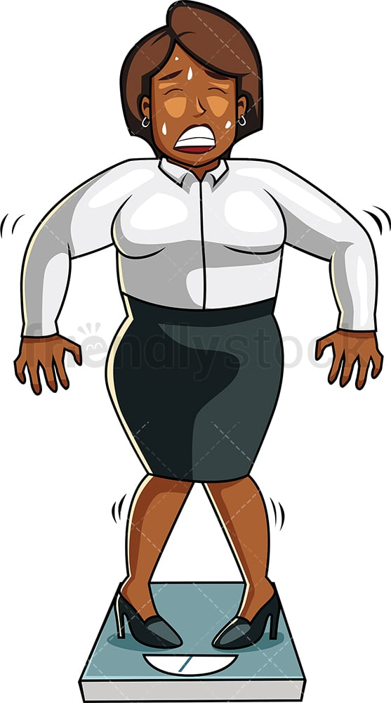 Black businesswoman on weight scale. PNG - JPG and vector EPS file formats (infinitely scalable). Image isolated on transparent background.