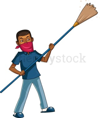 Black man dusting. PNG - JPG and vector EPS file formats (infinitely scalable). Image isolated on transparent background.