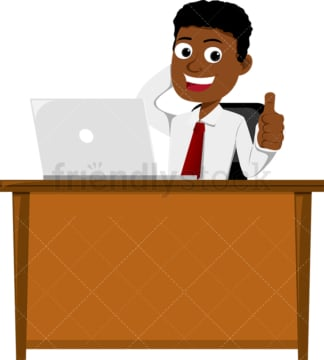 Black man giving the thumbs up behind desk. PNG - JPG and vector EPS file formats (infinitely scalable). Image isolated on transparent background.