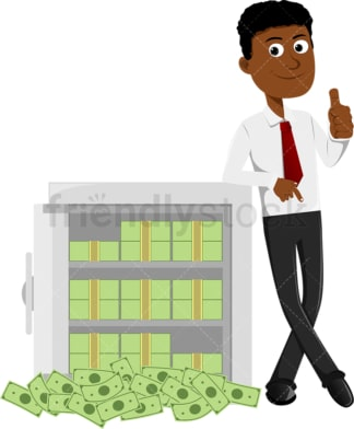 Black man leaning against safe full of money. PNG - JPG and vector EPS file formats (infinitely scalable). Image isolated on transparent background.