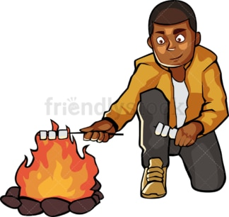 Black man roasting marshmallows by campfire. PNG - JPG and vector EPS file formats (infinitely scalable). Image isolated on transparent background.