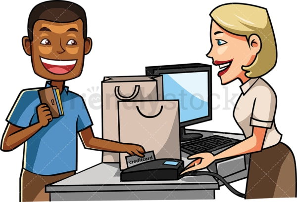 Black man sliding credit card at the register. PNG - JPG and vector EPS file formats (infinitely scalable). Image isolated on transparent background.