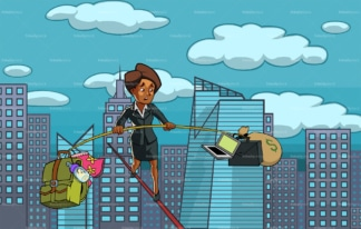 Black woman balancing work and family. PNG - JPG and vector EPS file formats (infinitely scalable). Image isolated on transparent background.