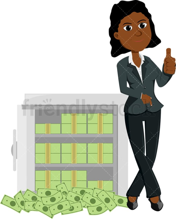 Black woman leaning against safe full of cash. PNG - JPG and vector EPS file formats (infinitely scalable). Image isolated on transparent background.