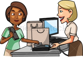 Black woman paying with credit card. PNG - JPG and vector EPS file formats (infinitely scalable). Image isolated on transparent background.