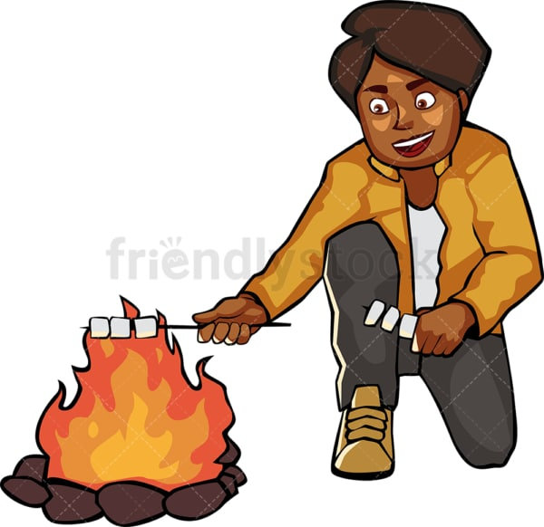 Black woman roasting marshmallows by the campfire. PNG - JPG and vector EPS file formats (infinitely scalable). Image isolated on transparent background.