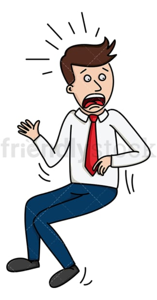 Businessman getting scared. PNG - JPG and vector EPS file formats (infinitely scalable). Image isolated on transparent background.