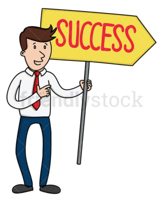 Businessman holding success sign. PNG - JPG and vector EPS file formats (infinitely scalable). Image isolated on transparent background.