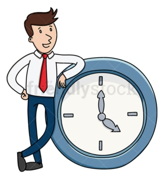 Businessman leaning on large clock. PNG - JPG and vector EPS (infinitely scalable).