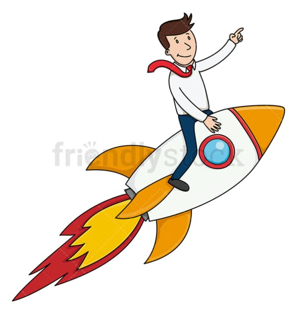 Businessman on rocket ship. PNG - JPG and vector EPS (infinitely scalable).