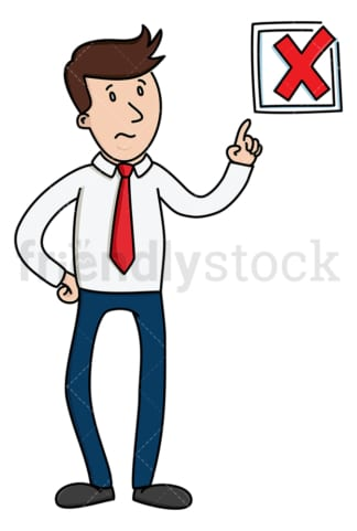 Businessman pointing to rex x mark. PNG - JPG and vector EPS (infinitely scalable).
