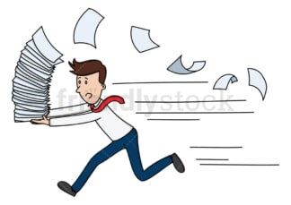 Businessman running with stack of papers. PNG - JPG and vector EPS file formats (infinitely scalable). Image isolated on transparent background.