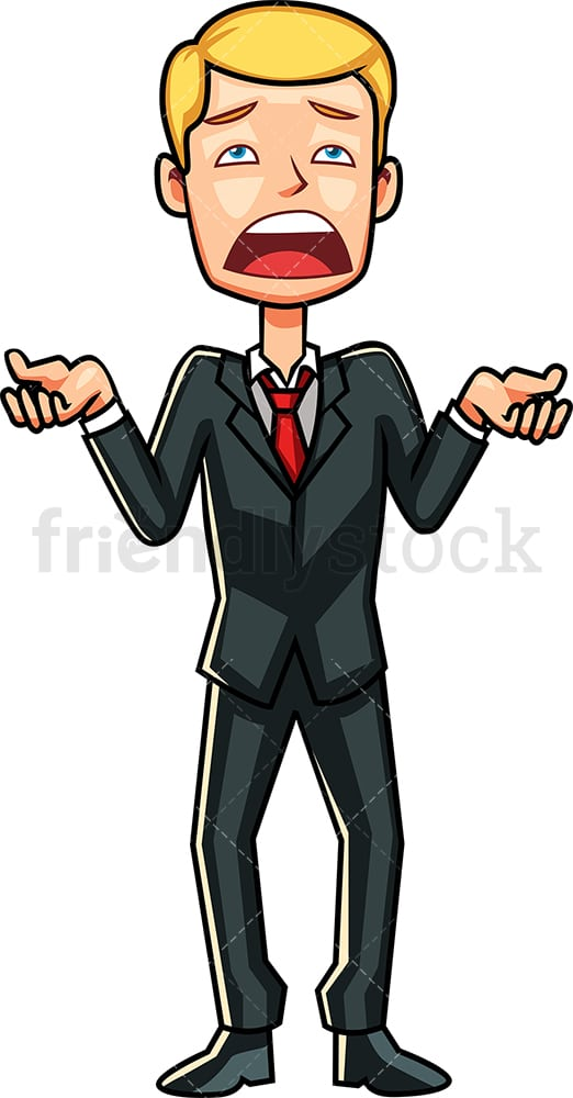 Businessman trying to explain himself. PNG - JPG and vector EPS file formats (infinitely scalable). Image isolated on transparent background.