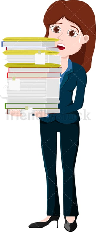 Businesswoman carrying paperwork and sweating. PNG - JPG and vector EPS file formats (infinitely scalable). Image isolated on transparent background.