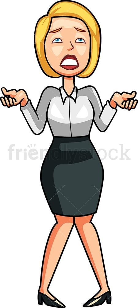 Businesswoman trying to explain herself. PNG - JPG and vector EPS file formats (infinitely scalable). Image isolated on transparent background.