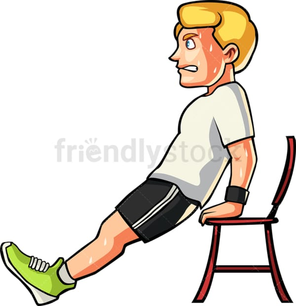 Caucasian man doing chair dips. PNG - JPG and vector EPS file formats (infinitely scalable). Image isolated on transparent background.