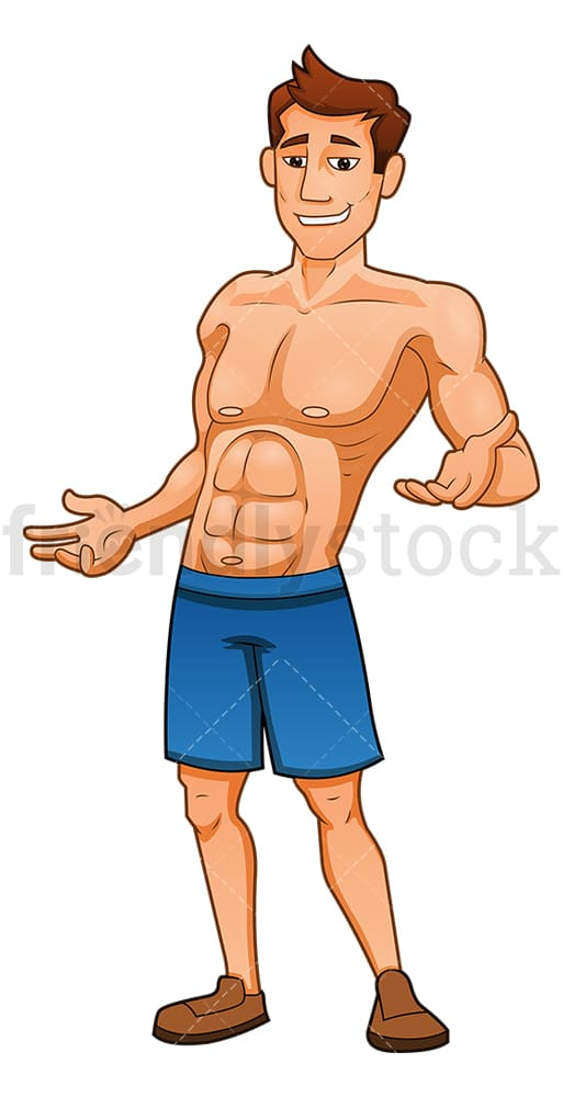 Confident muscular man showing off his muscles. PNG - JPG and vector EPS (infinitely scalable).
