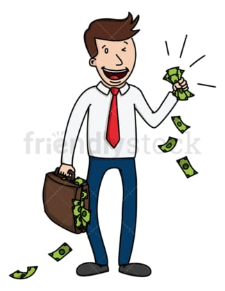 Corporate man with lots of cash. PNG - JPG and vector EPS (infinitely scalable).
