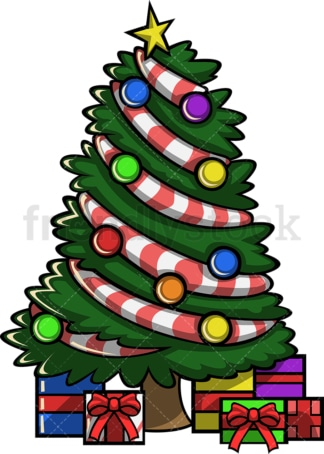 Decorated christmas tree with presents. PNG - JPG and vector EPS file formats (infinitely scalable). Image isolated on transparent background.