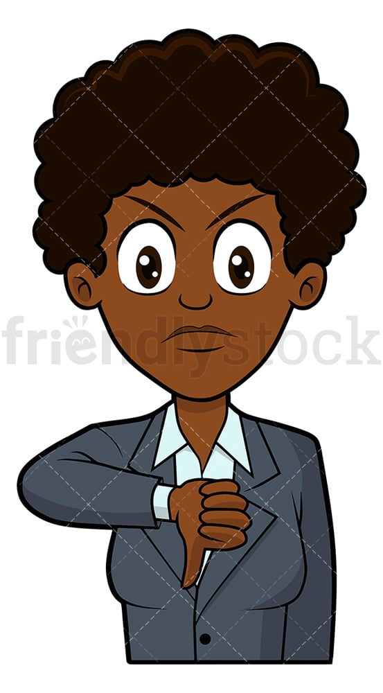 Displeased black businesswoman thumbs down. PNG - JPG and vector EPS file formats (infinitely scalable). Image isolated on transparent background.
