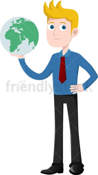 Dominant businessman with the world in hands. PNG - JPG and vector EPS file formats (infinitely scalable). Image isolated on transparent background.