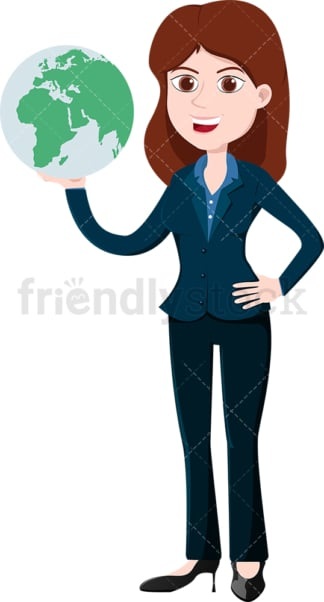Dominant businesswoman with the whole world in her hands. PNG - JPG and vector EPS file formats (infinitely scalable). Image isolated on transparent background.