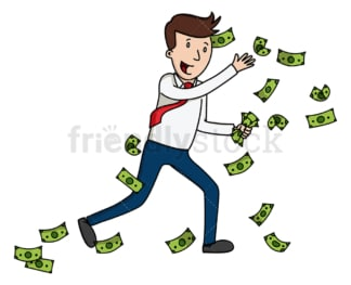 Excited businessman catching cash. PNG - JPG and vector EPS (infinitely scalable).