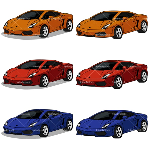Expensive super cars. PNG - JPG and vector EPS file formats (infinitely scalable). Image isolated on transparent background.