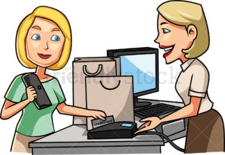 Female consumer paying with credit card. PNG - JPG and vector EPS file formats (infinitely scalable). Image isolated on transparent background.