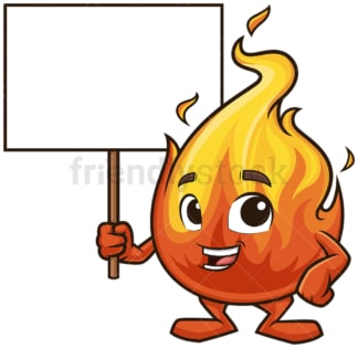 Fire mascot holding blank sign. PNG - JPG and vector EPS (infinitely scalable).