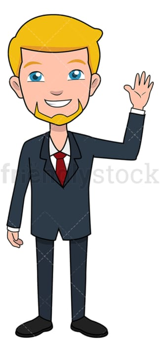 Greeting businessman with raised hand. PNG - JPG and vector EPS file formats (infinitely scalable). Image isolated on transparent background.