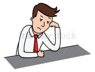 Lost in thought sad businessman. PNG - JPG and vector EPS file formats (infinitely scalable). Image isolated on transparent background.