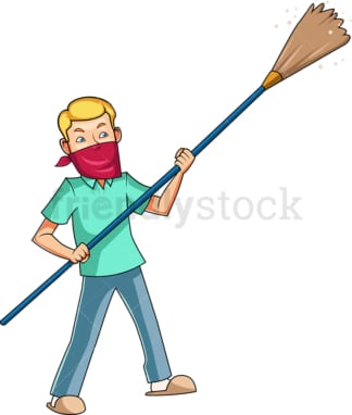 Man dusting with long feather duster. PNG - JPG and vector EPS file formats (infinitely scalable). Image isolated on transparent background.