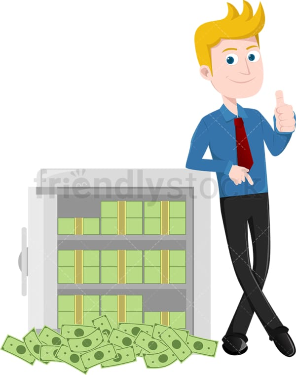 Man giving the thumbs up next to safe full of cash. PNG - JPG and vector EPS file formats (infinitely scalable). Image isolated on transparent background.