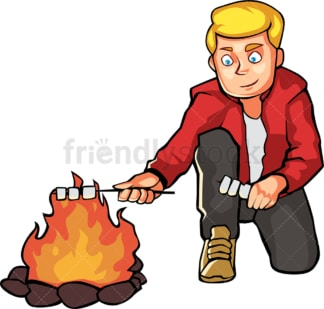Man roasting marshmallows by the campfire. PNG - JPG and vector EPS file formats (infinitely scalable). Image isolated on transparent background.