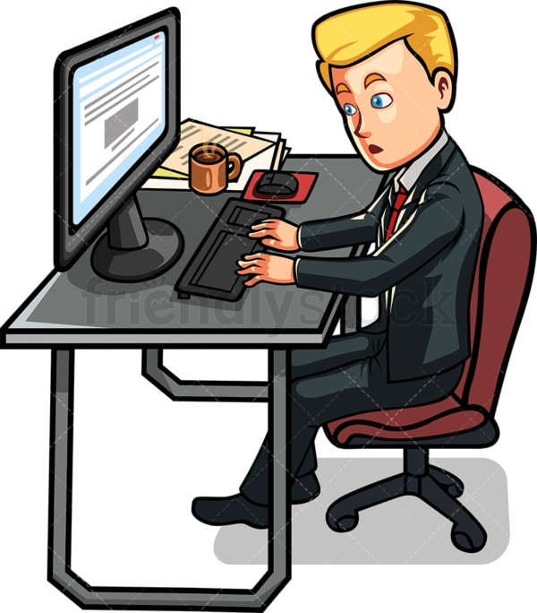 Man sitting at desk working on computer. PNG - JPG and vector EPS file formats (infinitely scalable). Image isolated on transparent background.