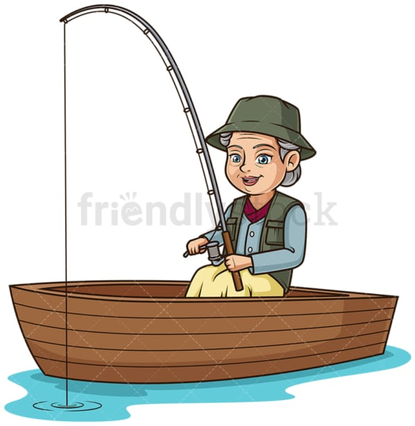 Mature woman fishing in a boat. PNG - JPG and vector EPS (infinitely scalable).