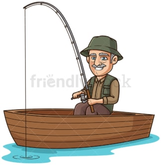 Old man in a boat fishing. PNG - JPG and vector EPS (infinitely scalable).