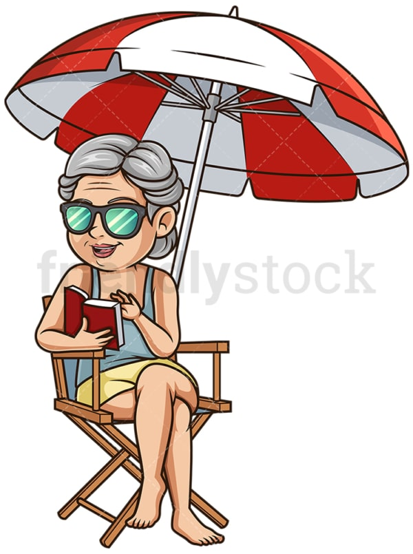 Old woman at the beach. PNG - JPG and vector EPS (infinitely scalable).