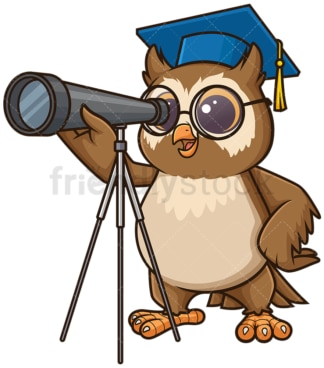 Owl astronomy teacher with telescope. PNG - JPG and vector EPS (infinitely scalable).