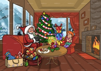 Santa claus in living room with little girl. PNG - JPG and vector EPS file formats (infinitely scalable). Image isolated on transparent background.