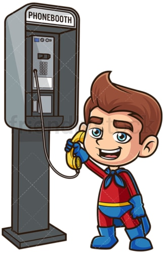 Superhero kid calling from phone booth. PNG - JPG and vector EPS (infinitely scalable).