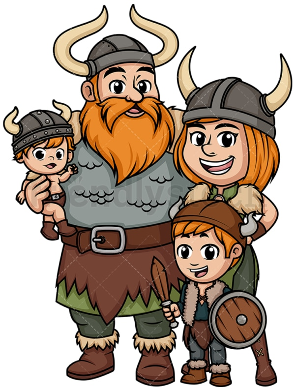 Viking family with little boy. PNG - JPG and vector EPS file formats (infinitely scalable). Image isolated on transparent background.