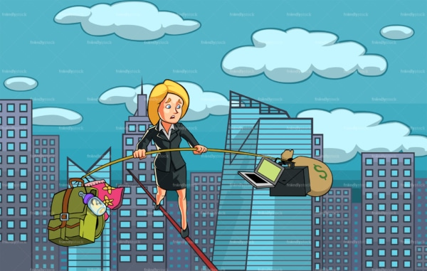 Woman balancing career and personal life. PNG - JPG and vector EPS file formats (infinitely scalable). Image isolated on transparent background.