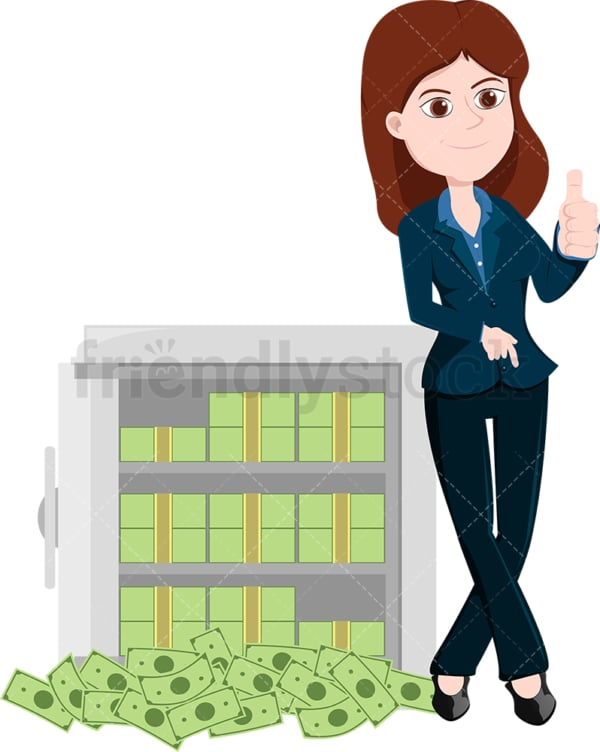 Woman leaning to an open safe full of money. PNG - JPG and vector EPS file formats (infinitely scalable). Image isolated on transparent background.