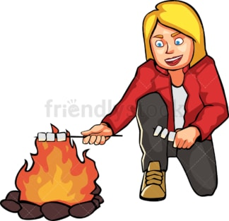 Woman roasting marshmallows by the campfire. PNG - JPG and vector EPS file formats (infinitely scalable). Image isolated on transparent background.