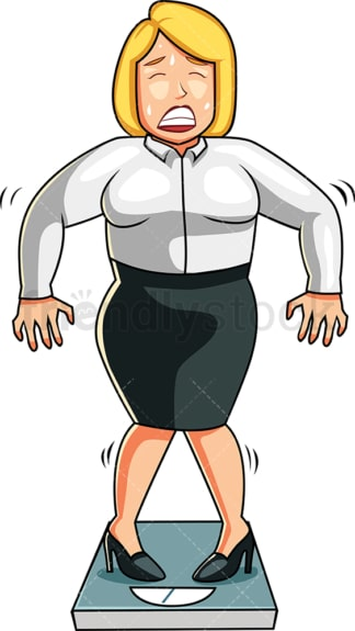 Woman scared to find out her weight. PNG - JPG and vector EPS file formats (infinitely scalable). Image isolated on transparent background.