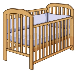 Wooden baby crib. PNG - JPG and vector EPS file formats (infinitely scalable). Image isolated on transparent background.